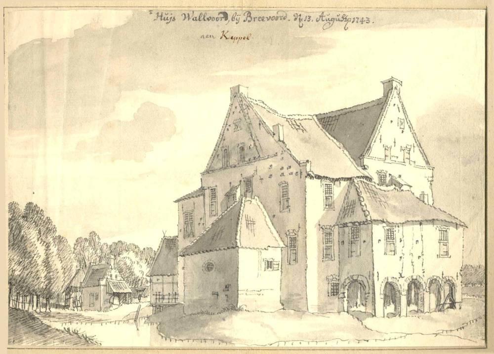 Havezate Het Walfort in Aalte. Tekening Jan de Beijer, 1743